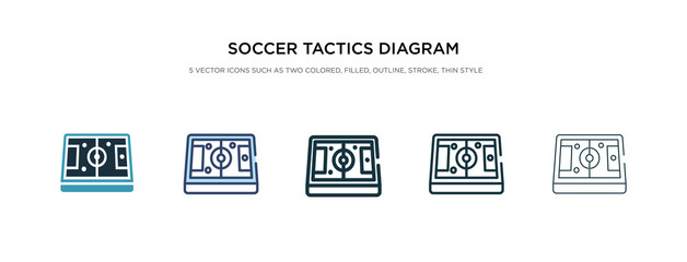 soccer tactics diagram icon in different style vector illustration. two colored and black soccer tactics diagram vector icons designed in filled, outline, line and stroke style can be used for web,