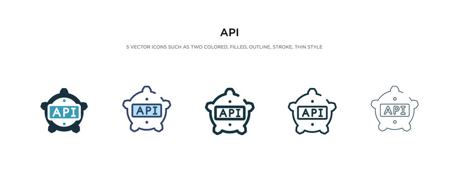api icon in different style vector illustration. two colored and black api vector icons designed in filled, outline, line and stroke style can be used for web, mobile, ui