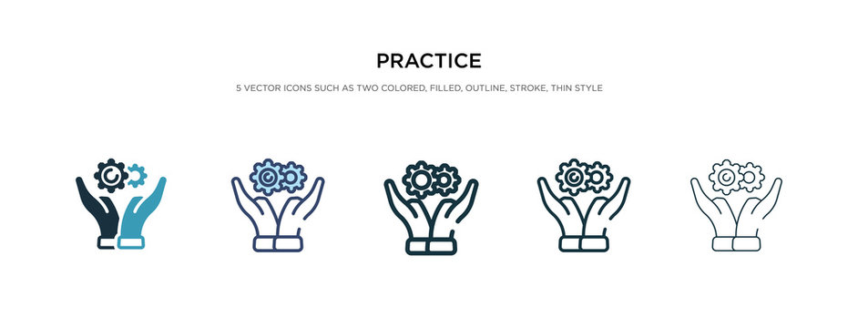 practice icon in different style vector illustration. two colored and black practice vector icons designed in filled, outline, line and stroke style can be used for web, mobile, ui