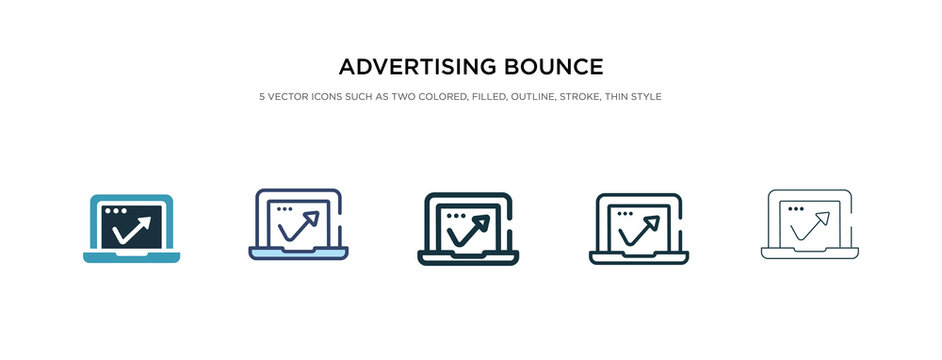 advertising bounce icon in different style vector illustration. two colored and black advertising bounce vector icons designed in filled, outline, line and stroke style can be used for web, mobile,