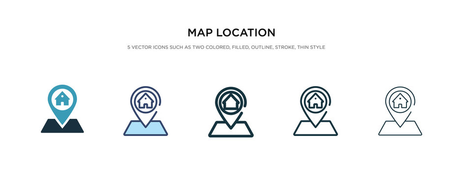 map location icon in different style vector illustration. two colored and black map location vector icons designed in filled, outline, line and stroke style can be used for web, mobile, ui
