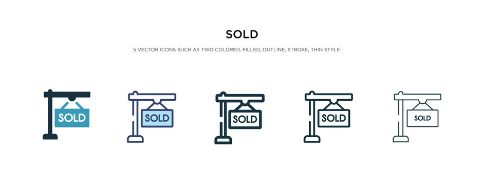 sold icon in different style vector illustration. two colored and black sold vector icons designed in filled, outline, line and stroke style can be used for web, mobile, ui