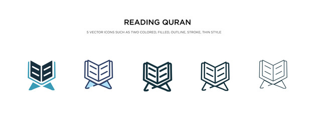 reading quran icon in different style vector illustration. two colored and black reading quran vector icons designed in filled, outline, line and stroke style can be used for web, mobile, ui