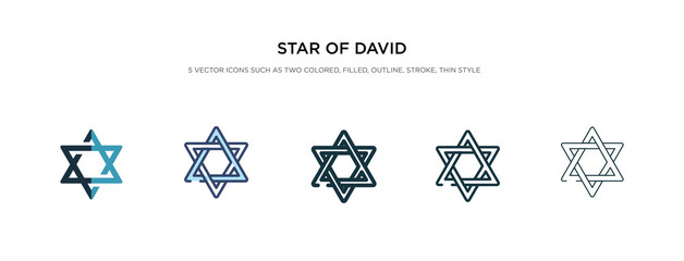star of david icon in different style vector illustration. two colored and black star of david vector icons designed in filled, outline, line and stroke style can be used for web, mobile, ui