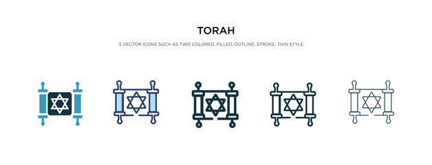 torah icon in different style vector illustration. two colored and black torah vector icons designed in filled, outline, line and stroke style can be used for web, mobile, ui Wall mural