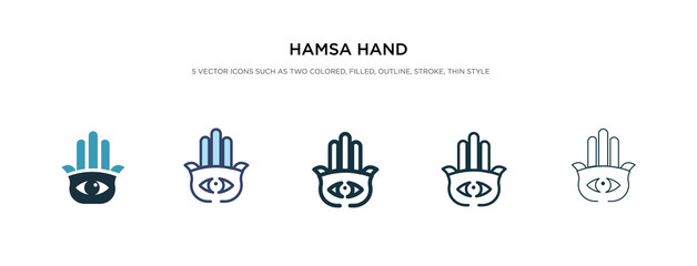hamsa hand icon in different style vector illustration. two colored and black hamsa hand vector icons designed in filled, outline, line and stroke style can be used for web, mobile, ui