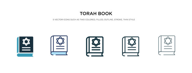torah book icon in different style vector illustration. two colored and black torah book vector icons designed in filled, outline, line and stroke style can be used for web, mobile, ui Wall mural