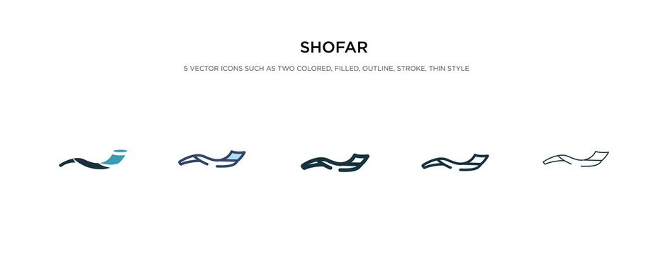 shofar icon in different style vector illustration. two colored and black shofar vector icons designed in filled, outline, line and stroke style can be used for web, mobile, ui
