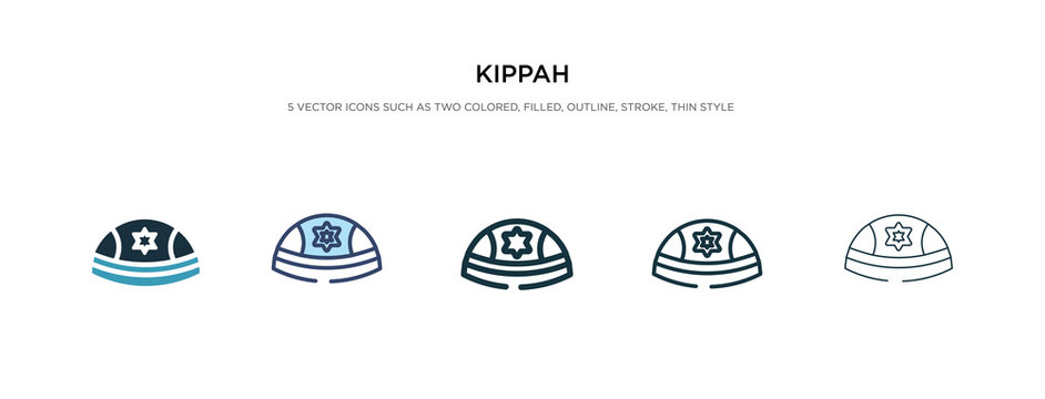 kippah icon in different style vector illustration. two colored and black kippah vector icons designed in filled, outline, line and stroke style can be used for web, mobile, ui