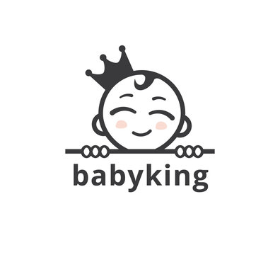 cute smiling baby face wearing crown for child business vector logo graphic design