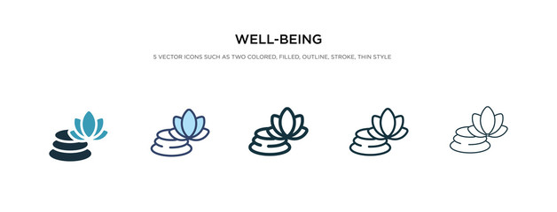 well-being icon in different style vector illustration. two colored and black well-being vector icons designed in filled, outline, line and stroke style can be used for web, mobile, ui