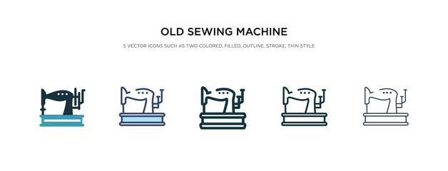 old sewing machine icon in different style vector illustration. two colored and black old sewing machine vector icons designed in filled, outline, line and stroke style can be used for web, mobile,
