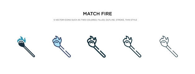 match fire icon in different style vector illustration. two colored and black match fire vector icons designed in filled, outline, line and stroke style can be used for web, mobile, ui