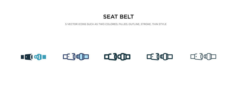 seat belt icon in different style vector illustration. two colored and black seat belt vector icons designed in filled, outline, line and stroke style can be used for web, mobile, ui