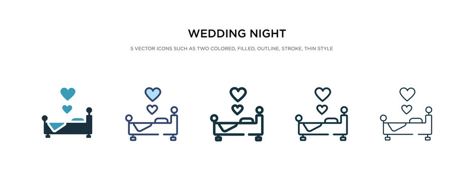 wedding night icon in different style vector illustration. two colored and black wedding night vector icons designed in filled, outline, line and stroke style can be used for web, mobile, ui