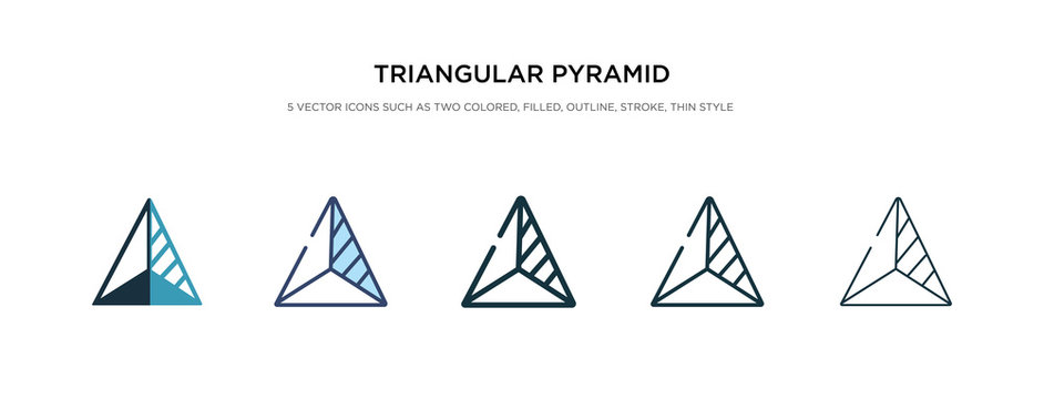 triangular pyramid volumetrical shape icon in different style vector illustration. two colored and black triangular pyramid volumetrical shape vector icons designed in filled, outline, line and