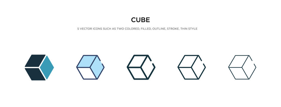 cube icon in different style vector illustration. two colored and black cube vector icons designed in filled, outline, line and stroke style can be used for web, mobile, ui