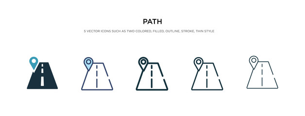 path icon in different style vector illustration. two colored and black path vector icons designed in filled, outline, line and stroke style can be used for web, mobile, ui