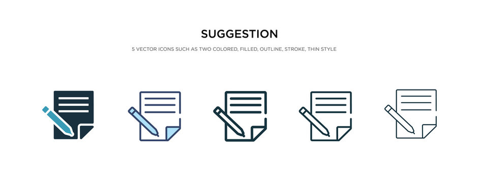 suggestion icon in different style vector illustration. two colored and black suggestion vector icons designed in filled, outline, line and stroke style can be used for web, mobile, ui