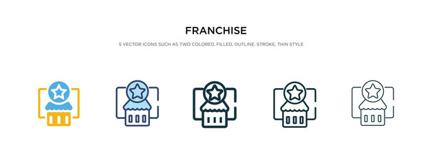franchise icon in different style vector illustration. two colored and black franchise vector icons designed in filled, outline, line and stroke style can be used for web, mobile, ui