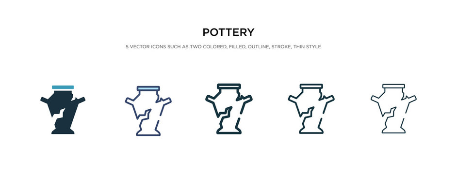 pottery icon in different style vector illustration. two colored and black pottery vector icons designed in filled, outline, line and stroke style can be used for web, mobile, ui