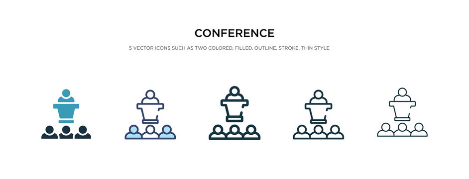 conference icon in different style vector illustration. two colored and black conference vector icons designed in filled, outline, line and stroke style can be used for web, mobile, ui