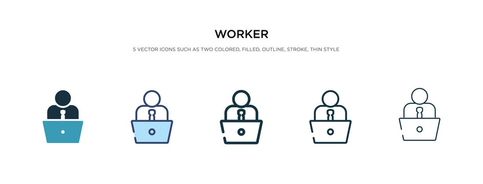 worker icon in different style vector illustration. two colored and black worker vector icons designed in filled, outline, line and stroke style can be used for web, mobile, ui