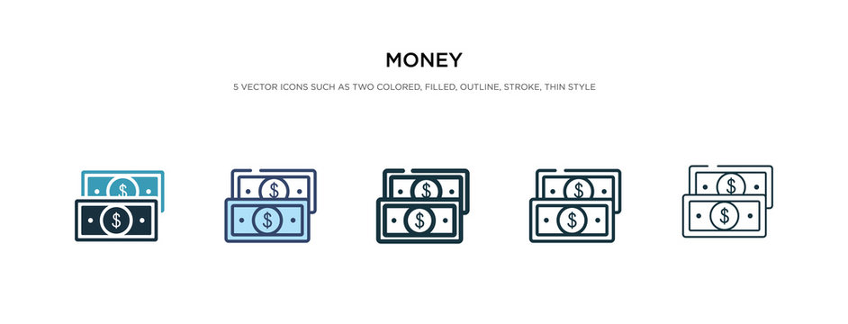 money icon in different style vector illustration. two colored and black money vector icons designed in filled, outline, line and stroke style can be used for web, mobile, ui