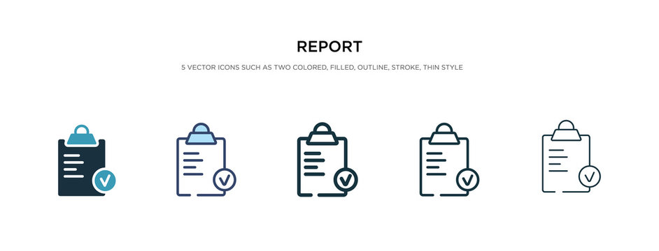 report icon in different style vector illustration. two colored and black report vector icons designed in filled, outline, line and stroke style can be used for web, mobile, ui