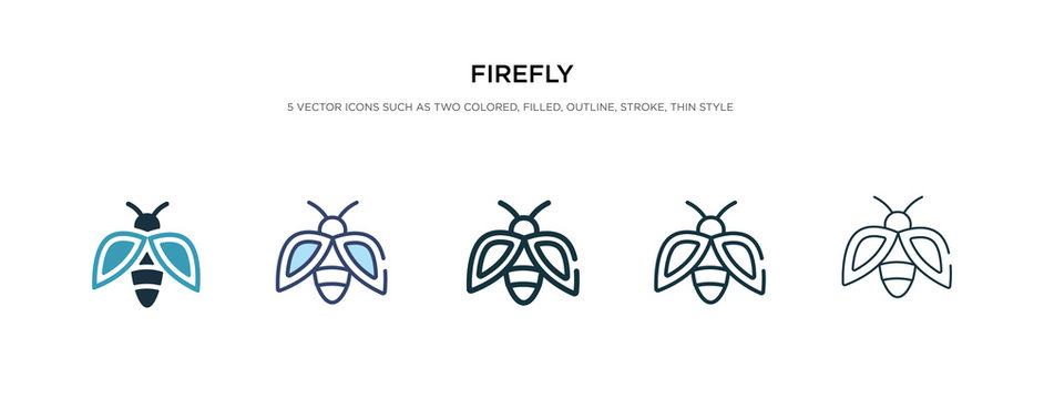 firefly icon in different style vector illustration. two colored and black firefly vector icons designed in filled, outline, line and stroke style can be used for web, mobile, ui