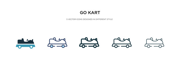 go kart icon in different style vector illustration. two colored and black go kart vector icons designed in filled, outline, line and stroke style can be used for web, mobile, ui