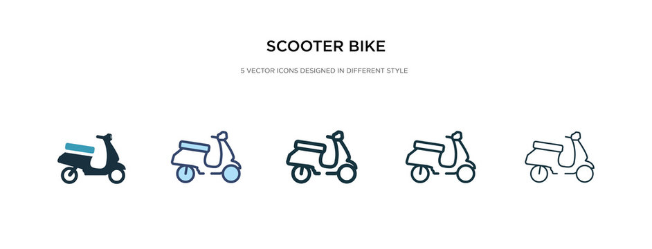 scooter bike icon in different style vector illustration. two colored and black scooter bike vector icons designed in filled, outline, line and stroke style can be used for web, mobile, ui