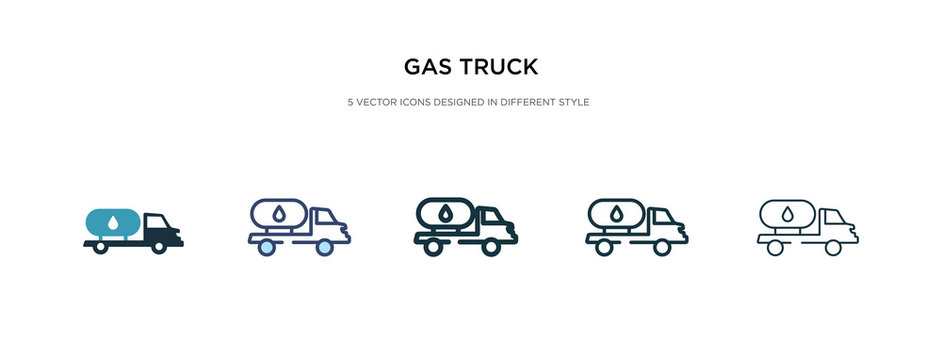 gas truck icon in different style vector illustration. two colored and black gas truck vector icons designed in filled, outline, line and stroke style can be used for web, mobile, ui
