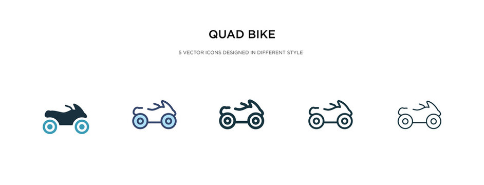 quad bike icon in different style vector illustration. two colored and black quad bike vector icons designed in filled, outline, line and stroke style can be used for web, mobile, ui