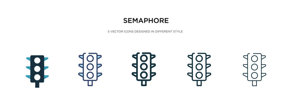 semaphore icon in different style vector illustration. two colored and black semaphore vector icons designed in filled, outline, line and stroke style can be used for web, mobile, ui