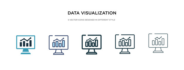 data visualization icon in different style vector illustration. two colored and black data visualization vector icons designed in filled, outline, line and stroke style can be used for web, mobile,