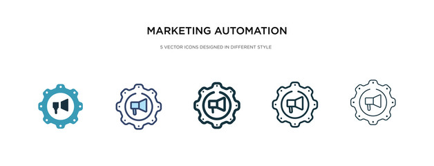 marketing automation icon in different style vector illustration. two colored and black marketing automation vector icons designed in filled, outline, line and stroke style can be used for web,