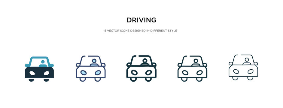 driving icon in different style vector illustration. two colored and black driving vector icons designed in filled, outline, line and stroke style can be used for web, mobile, ui