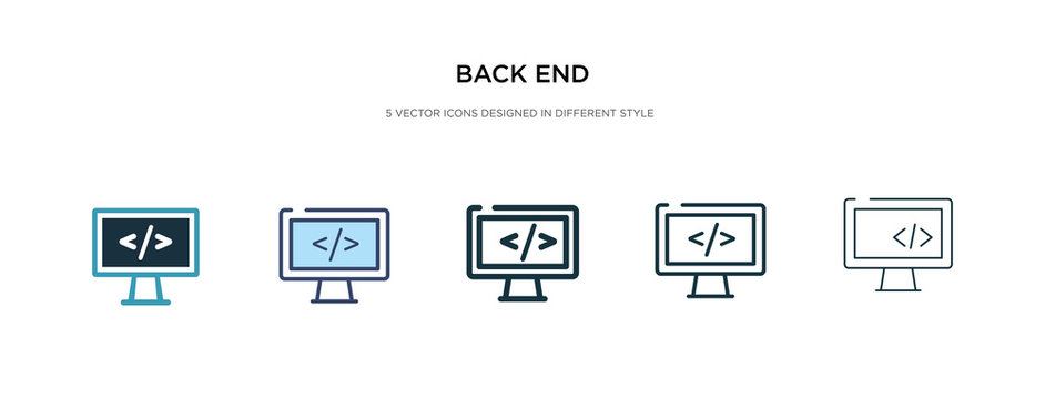 back end icon in different style vector illustration. two colored and black back end vector icons designed in filled, outline, line and stroke style can be used for web, mobile, ui