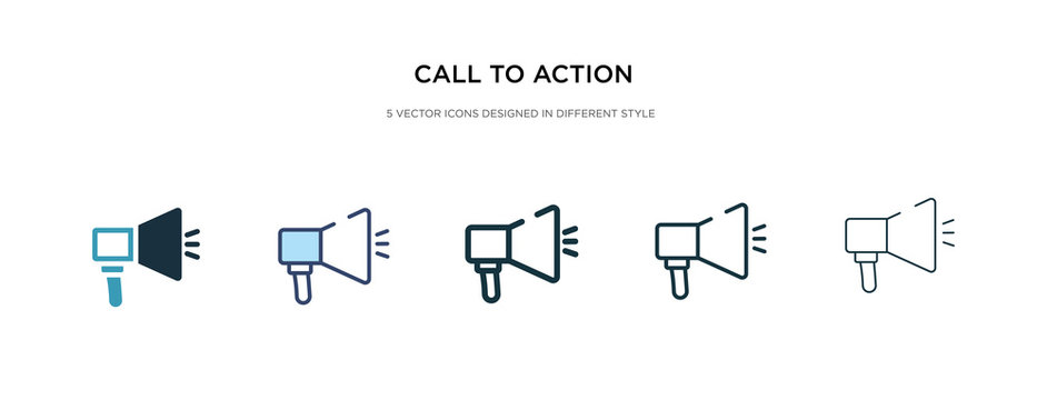 call to action icon in different style vector illustration. two colored and black call to action vector icons designed in filled, outline, line and stroke style can be used for web, mobile, ui