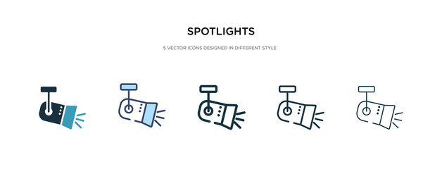 spotlights icon in different style vector illustration. two colored and black spotlights vector icons designed in filled, outline, line and stroke style can be used for web, mobile, ui