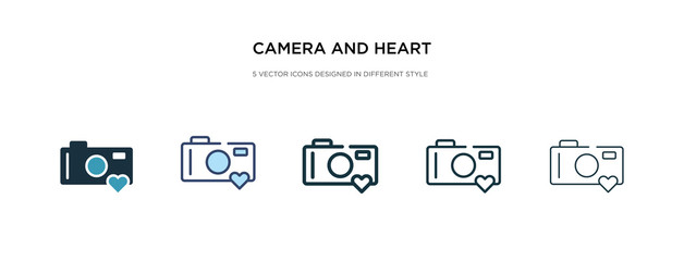 camera and heart picture icon in different style vector illustration. two colored and black camera and heart picture vector icons designed in filled, outline, line stroke style can be used for web,