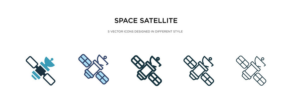 space satellite icon in different style vector illustration. two colored and black space satellite vector icons designed in filled, outline, line and stroke style can be used for web, mobile, ui