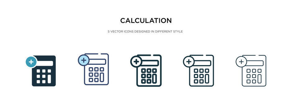 calculation icon in different style vector illustration. two colored and black calculation vector icons designed in filled, outline, line and stroke style can be used for web, mobile, ui