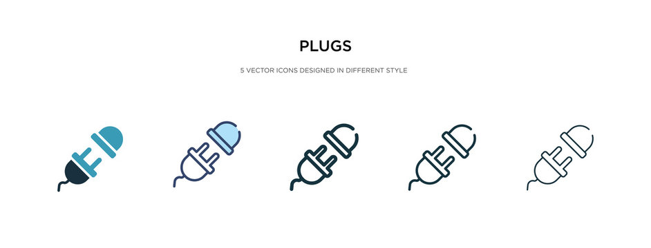 plugs icon in different style vector illustration. two colored and black plugs vector icons designed in filled, outline, line and stroke style can be used for web, mobile, ui