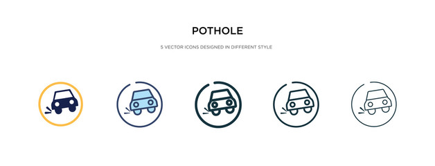 pothole icon in different style vector illustration. two colored and black pothole vector icons designed in filled, outline, line and stroke style can be used for web, mobile, ui