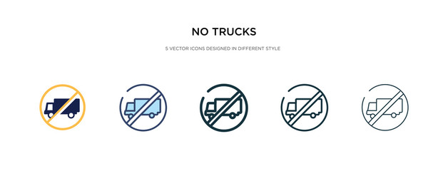 no trucks icon in different style vector illustration. two colored and black no trucks vector icons designed in filled, outline, line and stroke style can be used for web, mobile, ui
