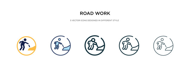 road work icon in different style vector illustration. two colored and black road work vector icons designed in filled, outline, line and stroke style can be used for web, mobile, ui