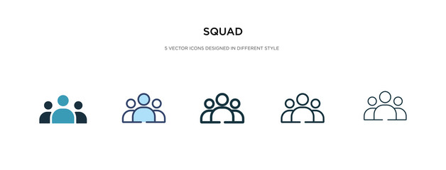squad icon in different style vector illustration. two colored and black squad vector icons designed in filled, outline, line and stroke style can be used for web, mobile, ui