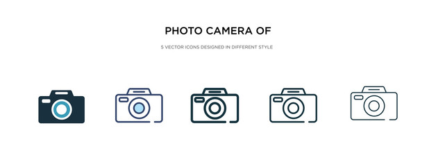 photo camera of rounded square shape icon in different style vector illustration. two colored and black photo camera of rounded square shape vector icons designed in filled, outline, line and stroke